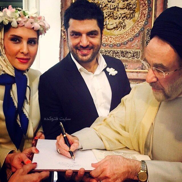 عکسهای سام درخشانی در روز عقد با عسل امیرپور در کنار سید محمد خاتمی