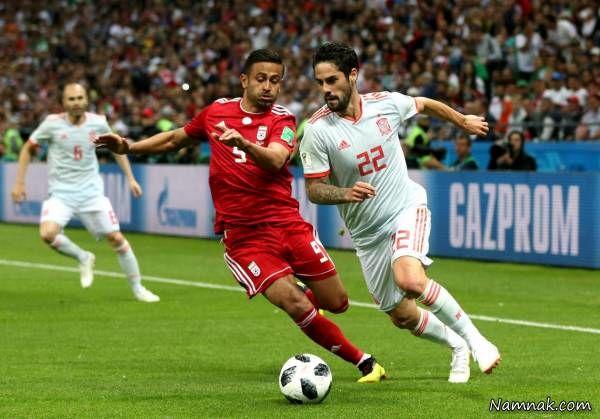 عکس امید ابراهیمی در بازی اسپانیا