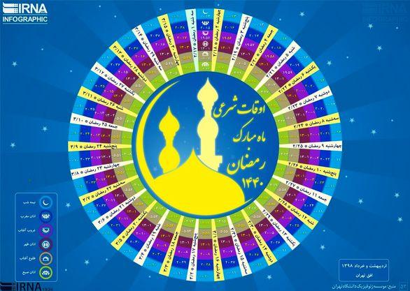 اوقات شرعی ماه مبارک رمضان ۱۴۴۰ به افق تهران