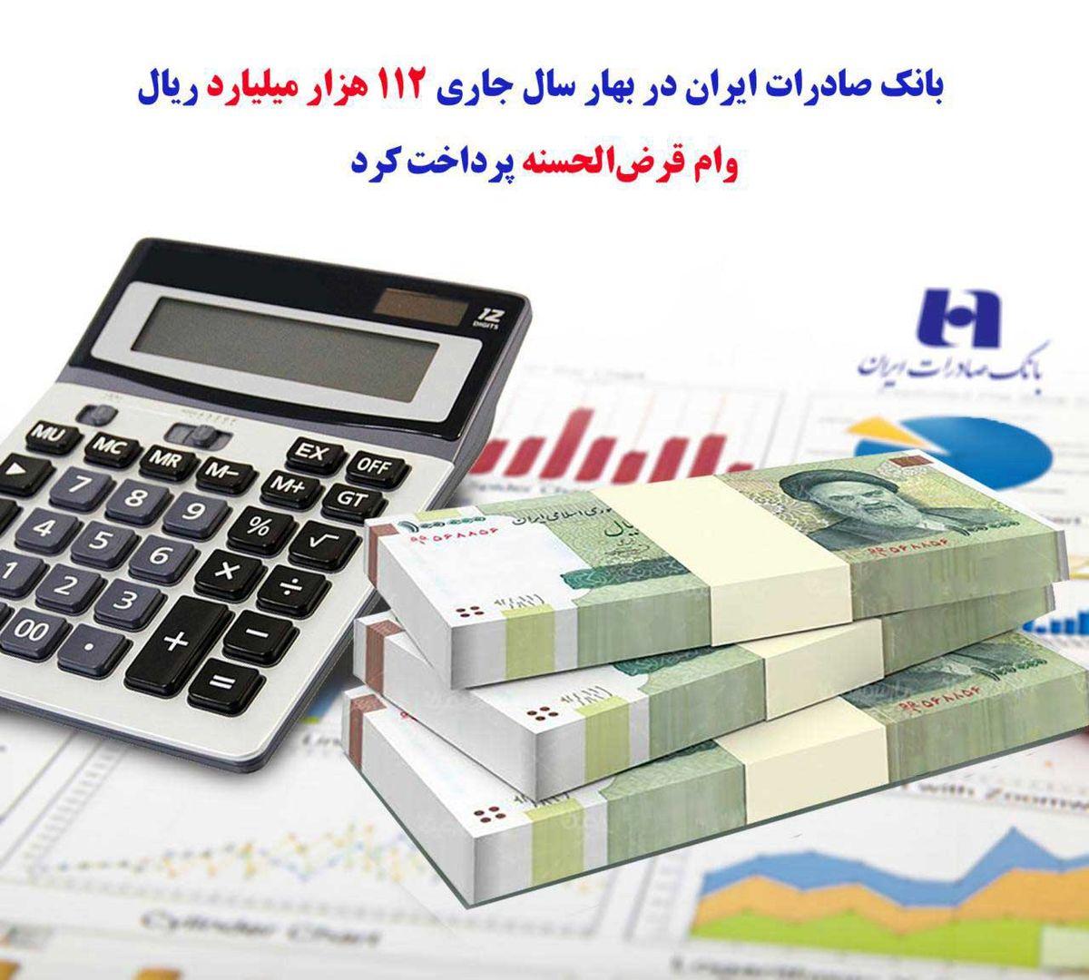 بانک صادرات ایران در بهار سال جاری ١١٢ هزار میلیارد ریال وام قرضالحسنه پرداخت کرد