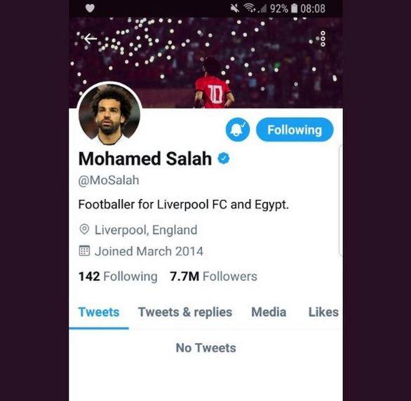 محمد صلاح، حساب توییتر خود را حذف کرد