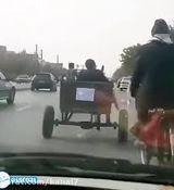 الاغ سواری در اصفهان به نشانه اعتراض به قیمت بنزین + فیلم