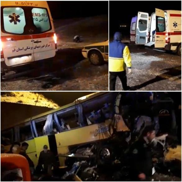 واژگونی مرگبار اتوبوس در جاده قم