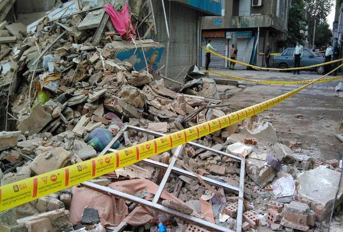 ریزش وحشتناک ساختمان در خیابان ابوذر تهران + فیلم