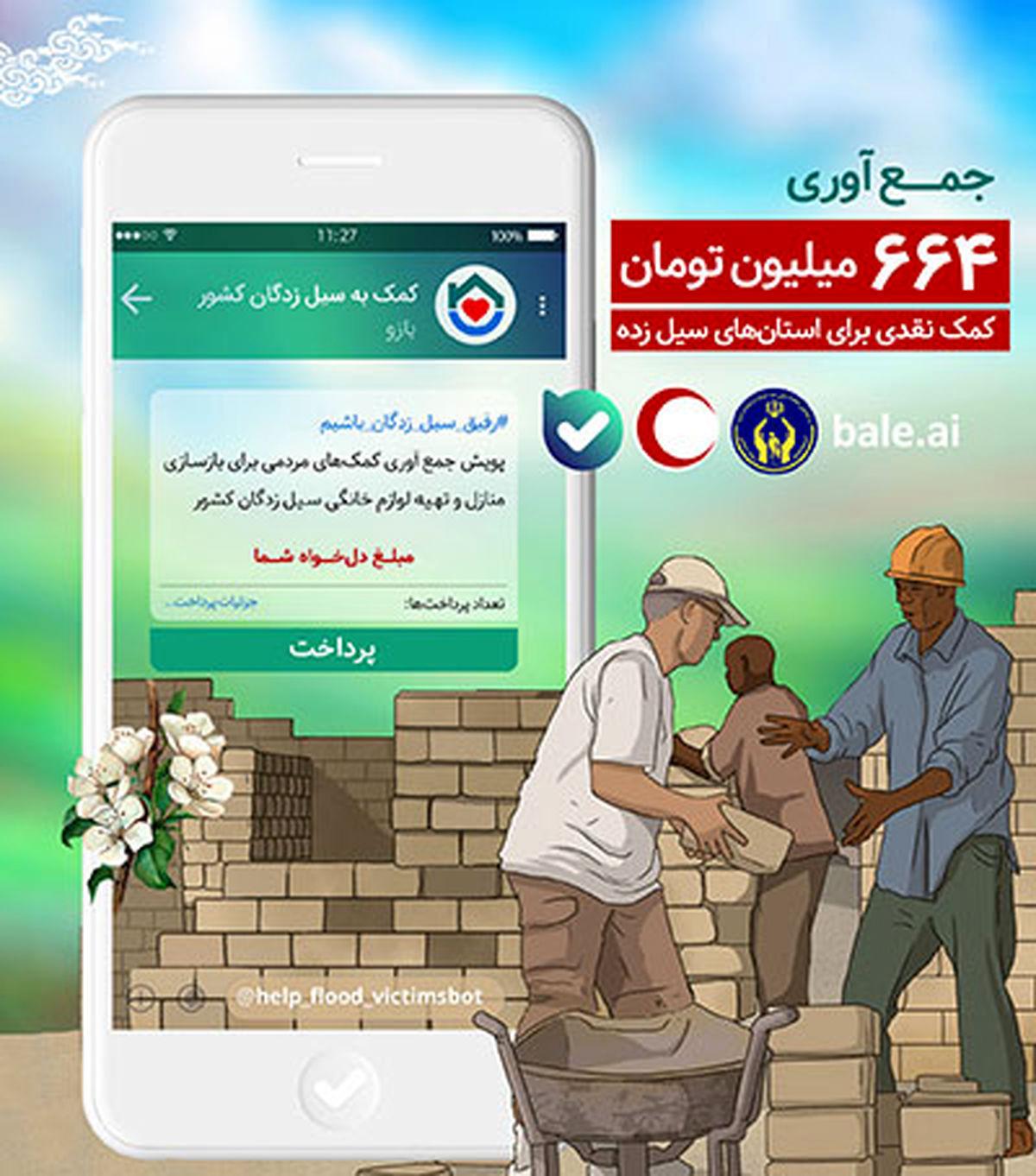 ۶۶۴ میلیون تومان کمک نقدی برای استانهای سیل زده در اپلیکیشن «بله» جمع آوری شد