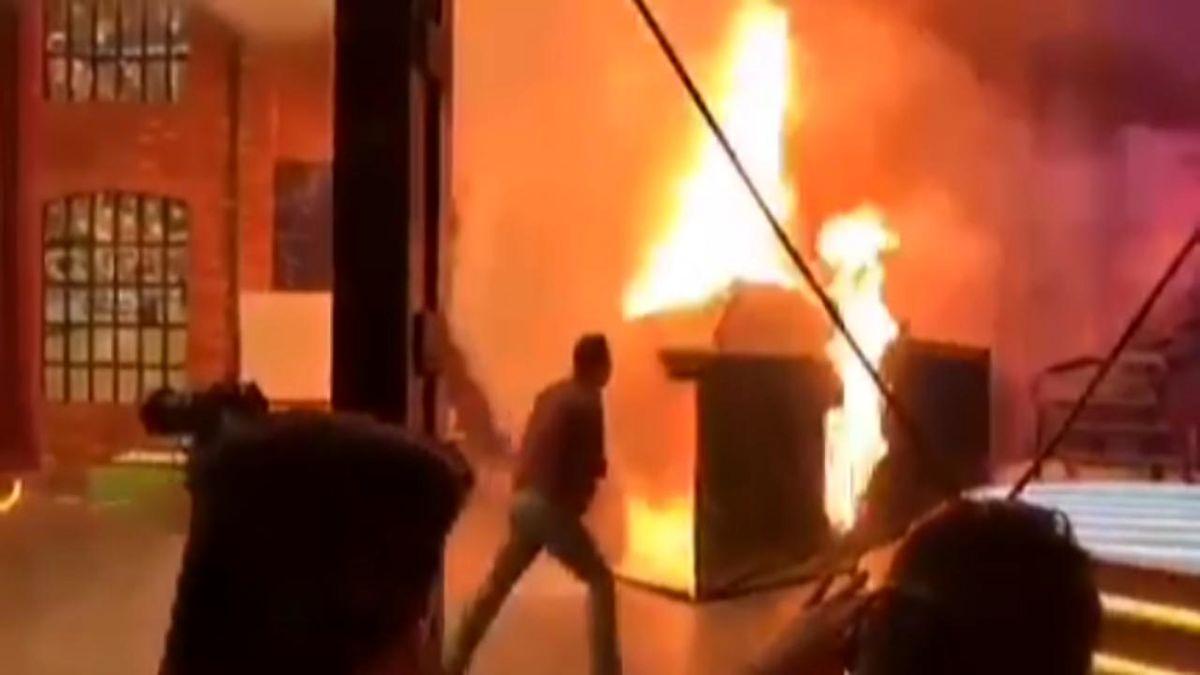 آتش سوزی شدید در هنگام ضبط برنامه میدون + فیلم
