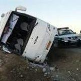 مصدومیت 23 زائر بر اثر واژگونی اتوبوس در ازنا