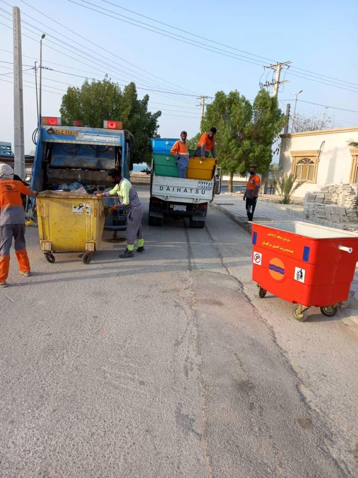 تعبیه 45 سطل زباله فایبرگلاس جدید در طولا و درگهان