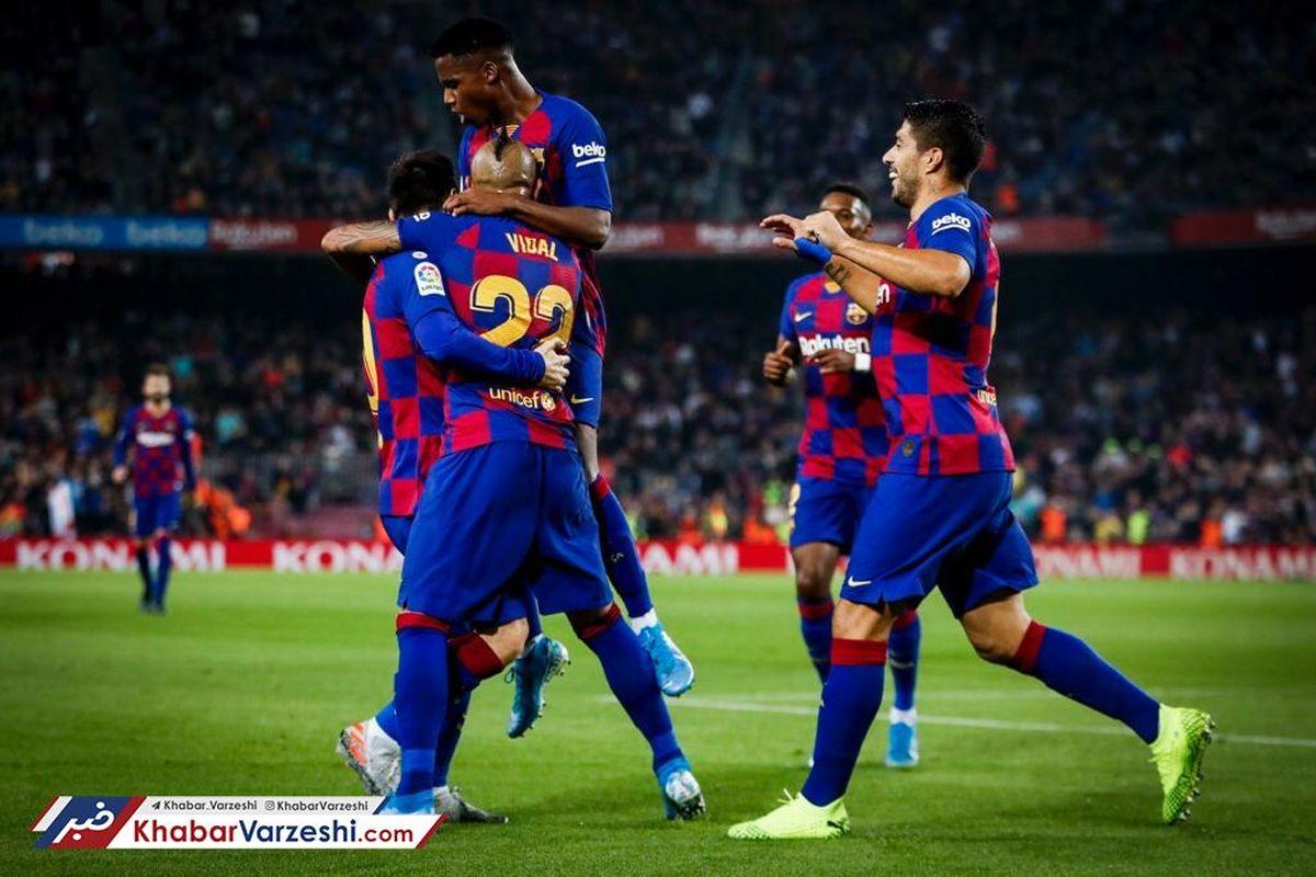 هتریک مسی و صعود بارسلونا به صدر