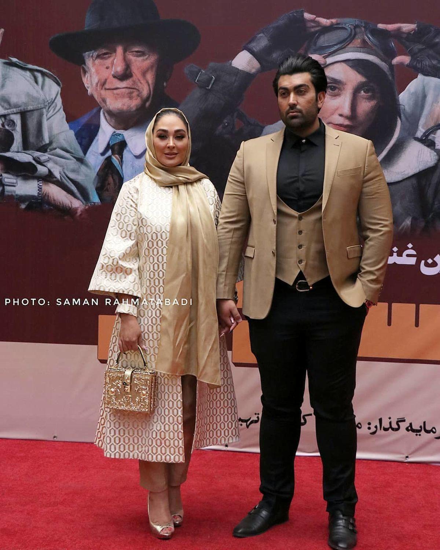 تیپ الهام حمیدی و همسرش در اکران مسخره باز+عکس