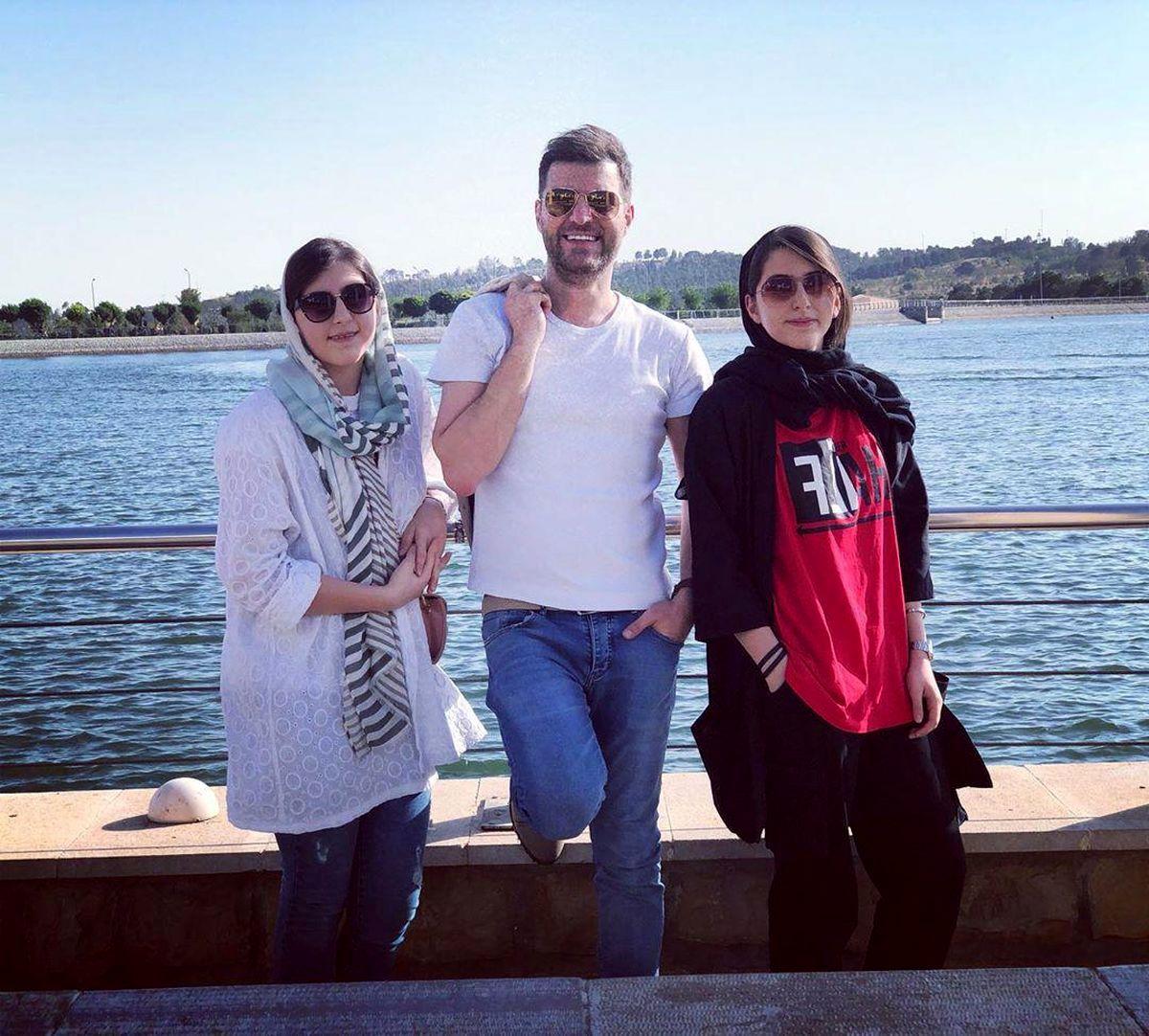 تصویر باربد بابایی و دختران دوقلویش لو رفت + عکس