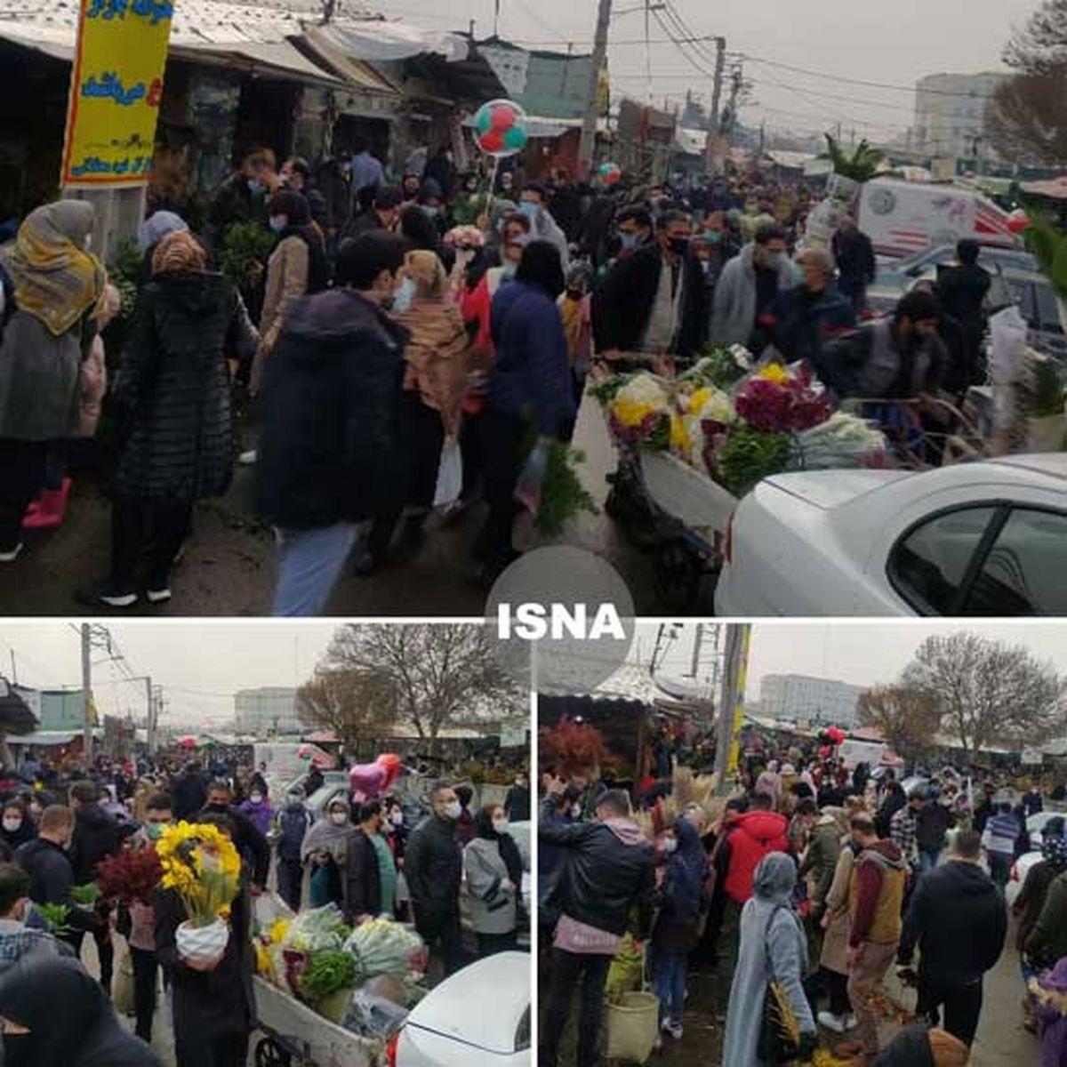 ازدحام عجیب مردم در بازار گل تهران + عکس