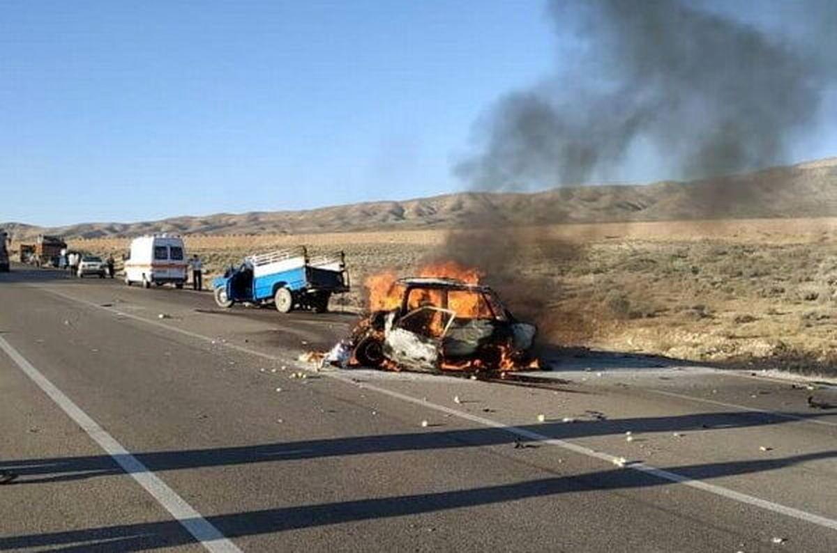7 نفر در فارس بر اثر تصادف در آتش سوختند + جزئیات