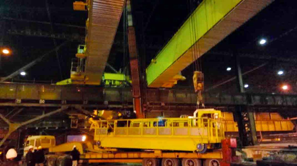 کاهش 400 درصدی زمان نصب جرثقیل 50 تنی حمل اسلب در فولاد مبارکه